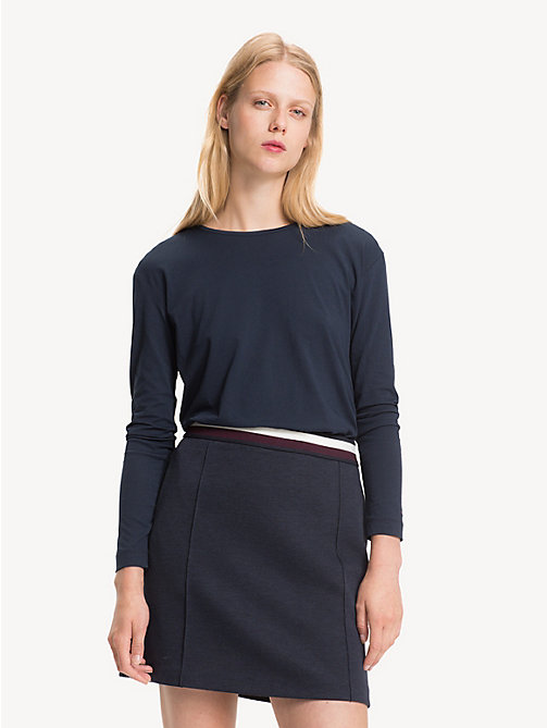 TOMMY HILFIGER Open Back Long Sleeve Top - MIDNIGHT - TOMMY HILFIGER Tops - main image