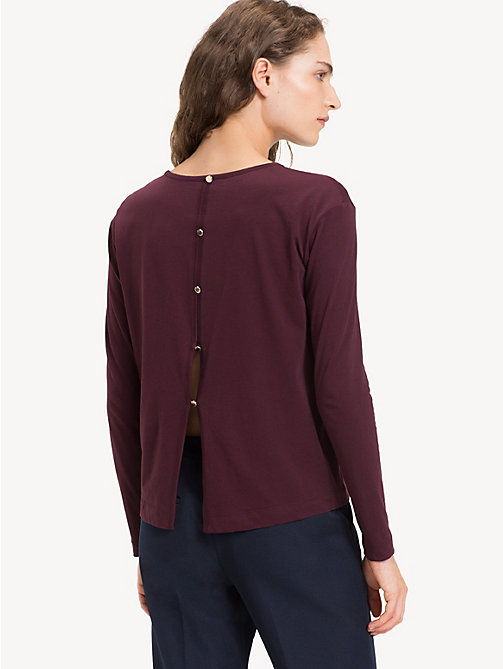 TOMMY HILFIGER Open Back Long Sleeve Top - PLUM - TOMMY HILFIGER Tops - detail image 1