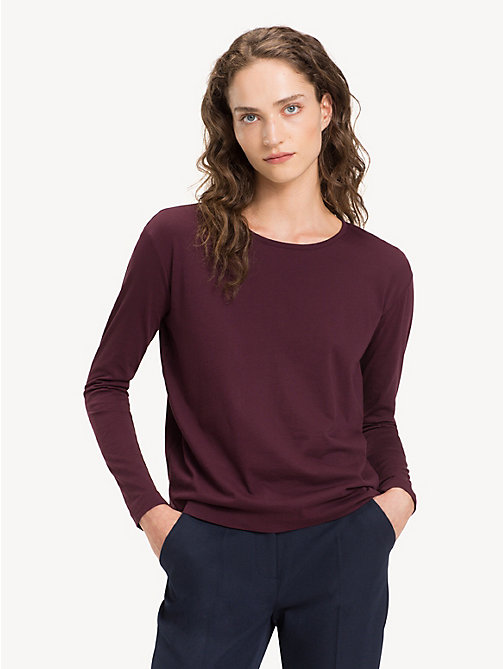 TOMMY HILFIGER Open Back Long Sleeve Top - PLUM - TOMMY HILFIGER NEW IN - main image