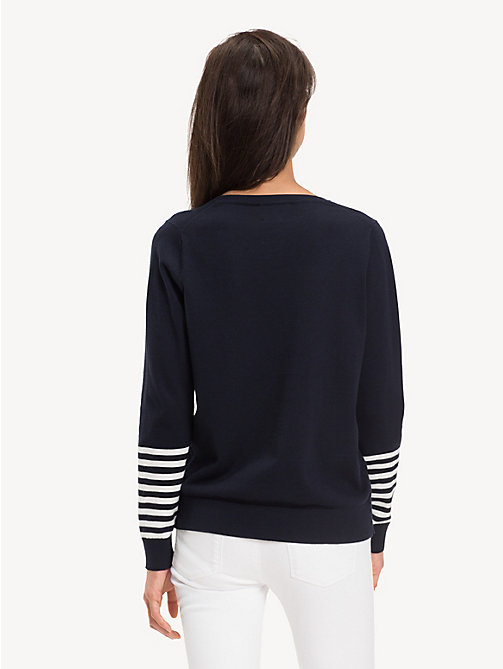 TOMMY HILFIGER Regular Fit Stripe Sleeve Jumper - SKY CAPTAIN / MULTI - TOMMY HILFIGER NEW IN - detail image 1
