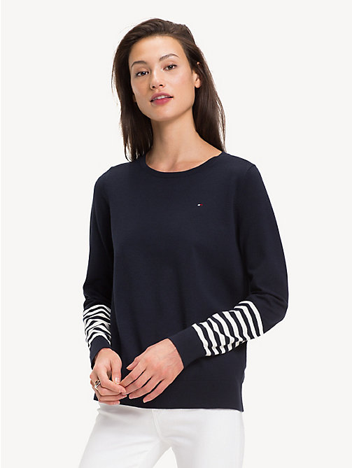 TOMMY HILFIGER Regular Fit Stripe Sleeve Jumper - SKY CAPTAIN/MULTI - TOMMY HILFIGER Jumpers - main image