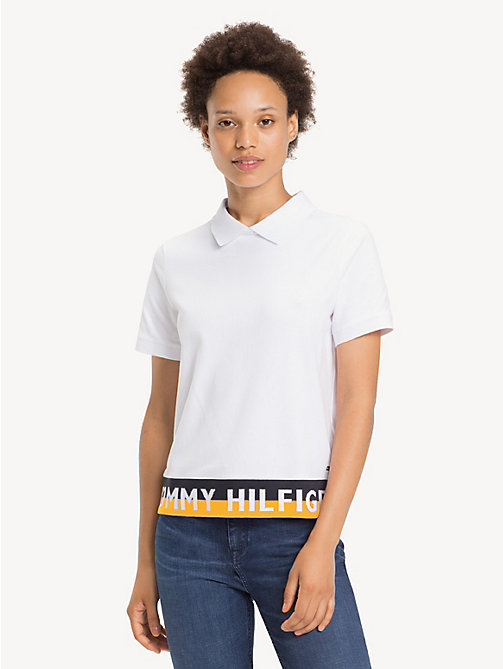 TOMMY HILFIGER Logo Hem Regular Fit Polo Shirt - CLASSIC WHITE - TOMMY HILFIGER Polo Shirts - main image