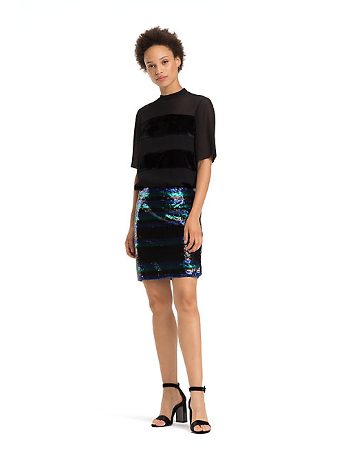 TOMMY HILFIGER Sequin Stripe Skirt - SEQUIN STP / BLACK BEAUTY - TOMMY HILFIGER Party Looks - main image