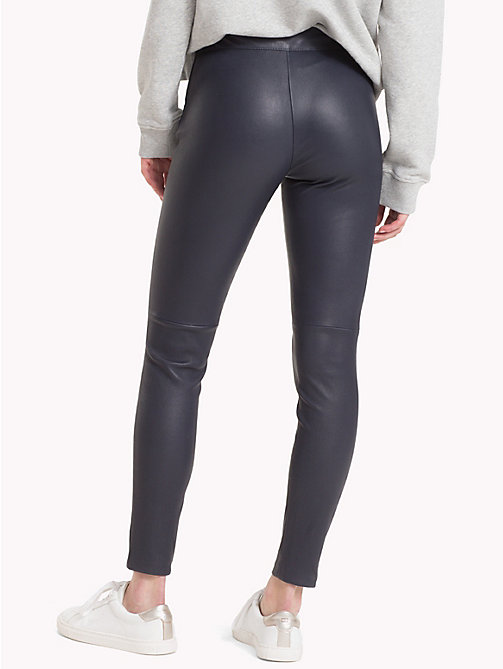 TOMMY HILFIGER Tommy Icons Leather Trousers - MIDNIGHT - TOMMY HILFIGER Clothing - detail image 1