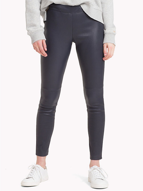 TOMMY HILFIGER Tommy Icons Leather Trousers - MIDNIGHT - TOMMY HILFIGER TOMMY NOW WOMEN - main image