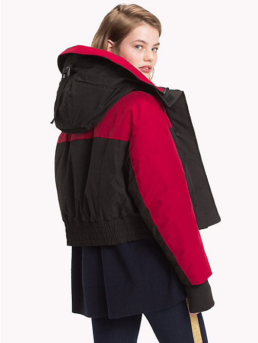 TOMMY HILFIGER Tommy Icons Cropped Parka - BLACK BEAUTY / RED - TOMMY HILFIGER TEST PARENT - detail image 1