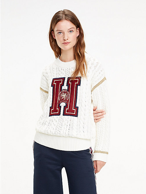 TOMMY HILFIGER Tommy Icons Crest Jumper - SNOW WHITE -  TOMMY ICONS - main image