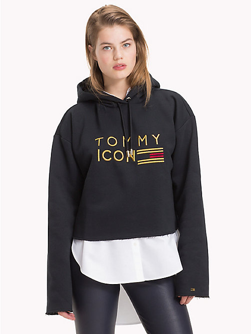 TOMMY HILFIGER Tommy Icons Cropped hoodie - BLACK BEAUTY - TOMMY HILFIGER TOMMY ICONS - main image