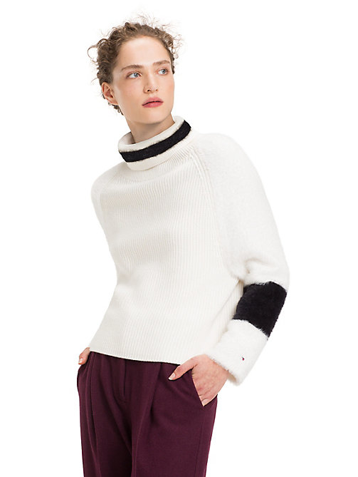 TOMMY HILFIGER Colour-Blocked Turtleneck Jumper - SNOW WHITE / BLACK BEAUTY - TOMMY HILFIGER NEW IN - main image
