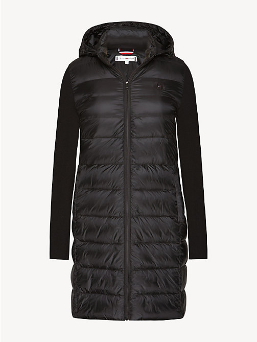 TOMMY HILFIGER Contrast Material Sleeve Padded Coat - BLACK BEAUTY - TOMMY HILFIGER Coats - detail image 1