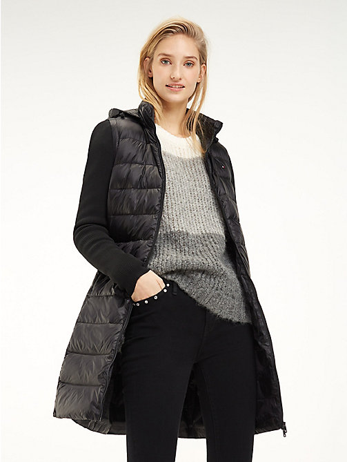TOMMY HILFIGER Contrast Material Sleeve Padded Coat - BLACK BEAUTY - TOMMY HILFIGER Coats - main image