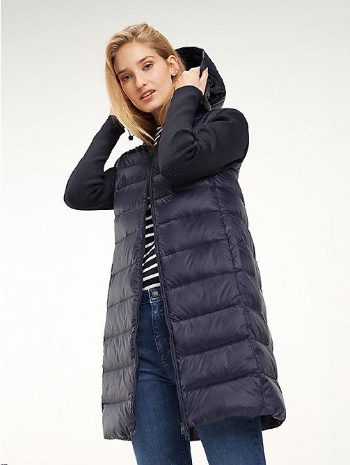 TOMMY HILFIGER Contrast Material Sleeve Padded Coat - MIDNIGHT - TOMMY HILFIGER NEW IN - main image