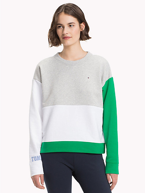 TOMMY HILFIGER Athleisure Contrast Sleeve Sweatshirt - LGH/CL.WHITE/JELLY BEAN - TOMMY HILFIGER Clothing - main image