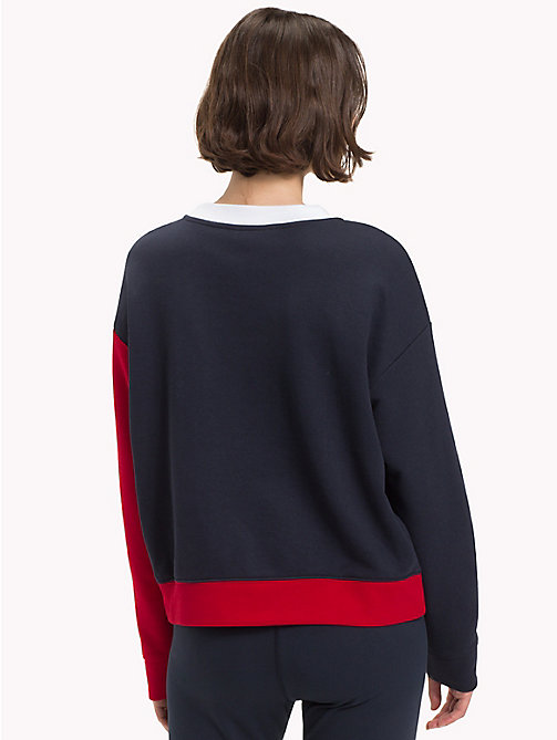 TOMMY HILFIGER Athleisure Contrast Sleeve Sweatshirt - CLASSIC WHITE/MIDNIGHT/RED - TOMMY HILFIGER Athleisure - detail image 1