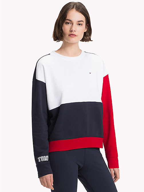 TOMMY HILFIGER Athleisure Contrast Sleeve Sweatshirt - CLASSIC WHITE/MIDNIGHT/RED - TOMMY HILFIGER Athleisure - main image