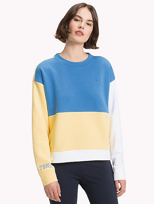 TOMMY HILFIGER Athleisure Contrast Sleeve Sweatshirt - REGATTA/SUNSHINE/CL.WHITE - TOMMY HILFIGER Clothing - main image