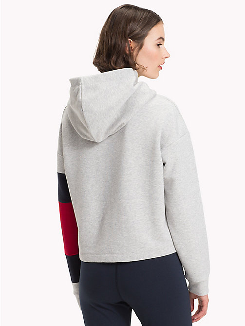 TOMMY HILFIGER Cropped Colour-Blocked Sleeve Hoodie - LIGHT GREY HTR - TOMMY HILFIGER Athleisure - detail image 1