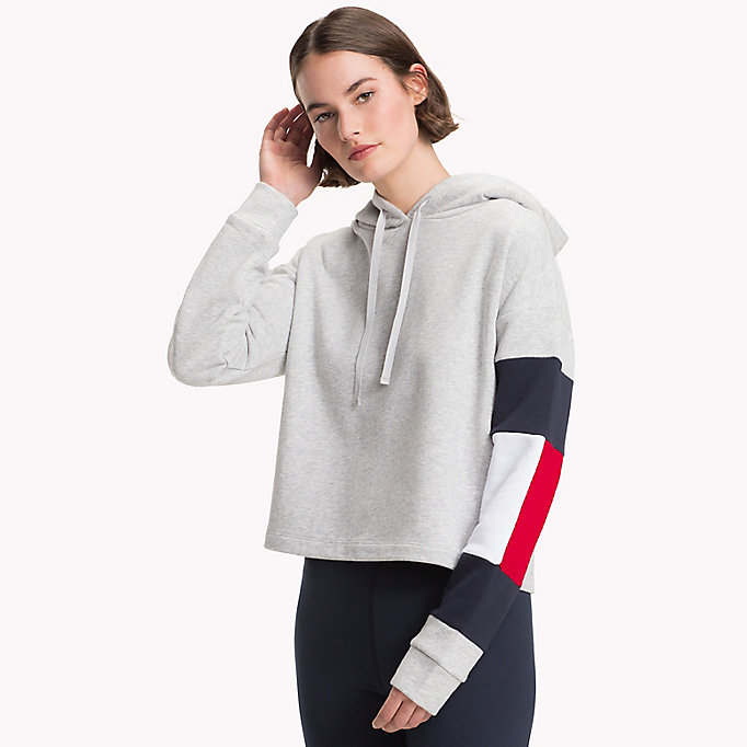 TOMMY HILFIGER Cropped Colour-Blocked Sleeve Hoodie - SUNSHINE - TOMMY HILFIGER Women - main image