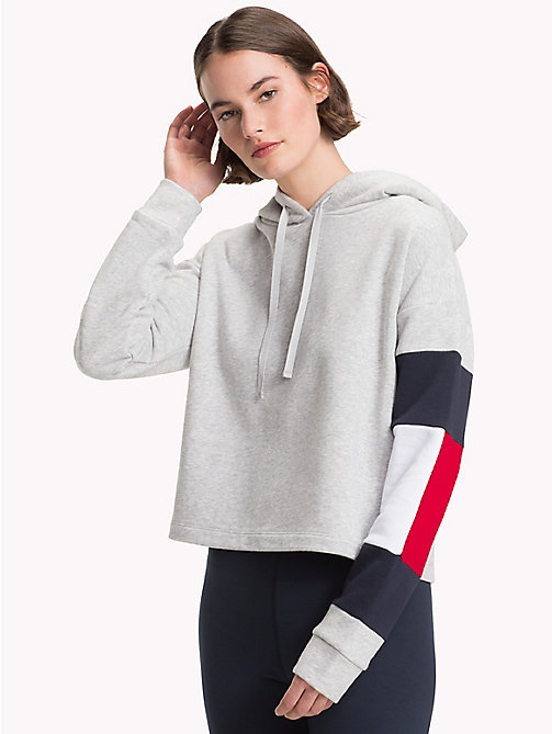 TOMMY HILFIGER Cropped Colour-Blocked Sleeve Hoodie - LIGHT GREY HTR - TOMMY HILFIGER Hoodies - main image