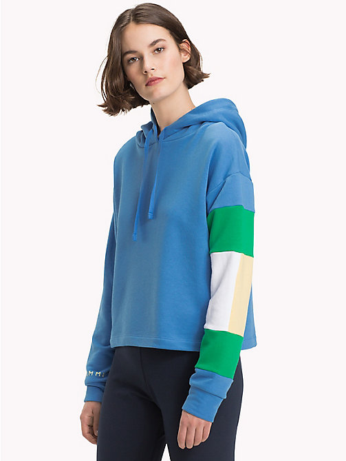 TOMMY HILFIGER Cropped Colour-Blocked Sleeve Hoodie - REGATTA - TOMMY HILFIGER Athleisure - main image