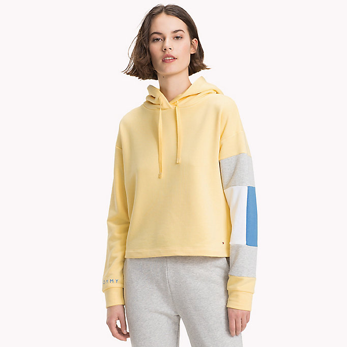 TOMMY HILFIGER Cropped Colour-Blocked Sleeve Hoodie - REGATTA - TOMMY HILFIGER Women - main image