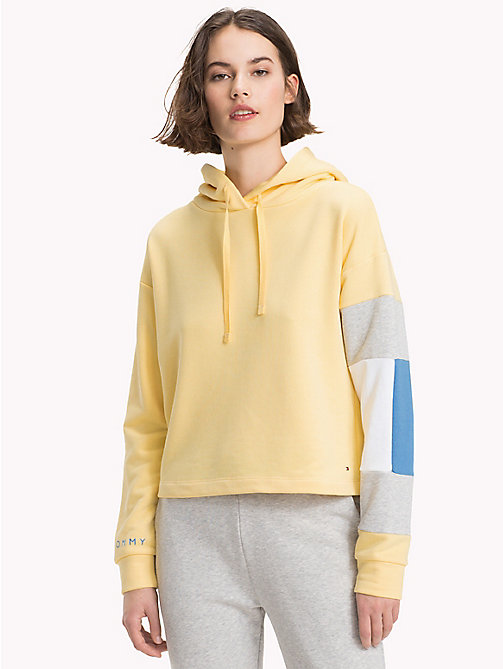 TOMMY HILFIGER Cropped Colour-Blocked Sleeve Hoodie - SUNSHINE - TOMMY HILFIGER Athleisure - main image