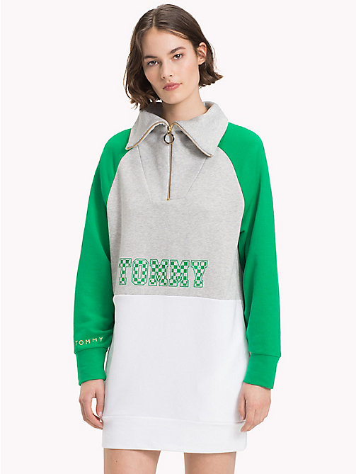 TOMMY HILFIGER Athleisure Logo Zip-Neck Sweatshirt - JELLY BEAN/LGH/CL.WHITE - TOMMY HILFIGER Athleisure - main image