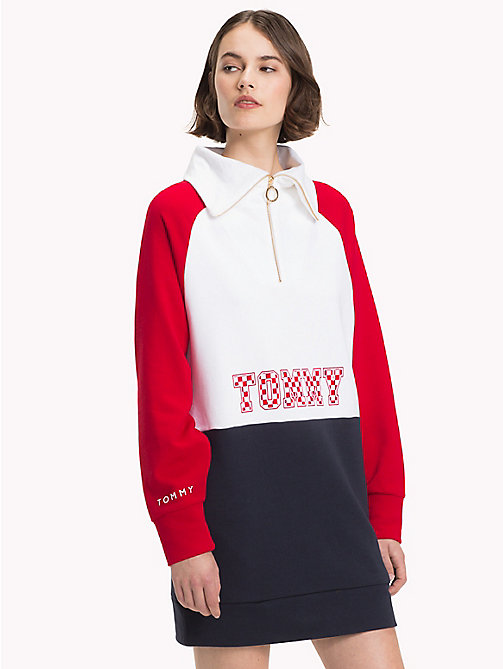 TOMMY HILFIGER Athleisure Logo Zip-Neck Sweatshirt - HAUTE RED/CL.WHITE/MIDNIGHT - TOMMY HILFIGER Sweatshirts - main image