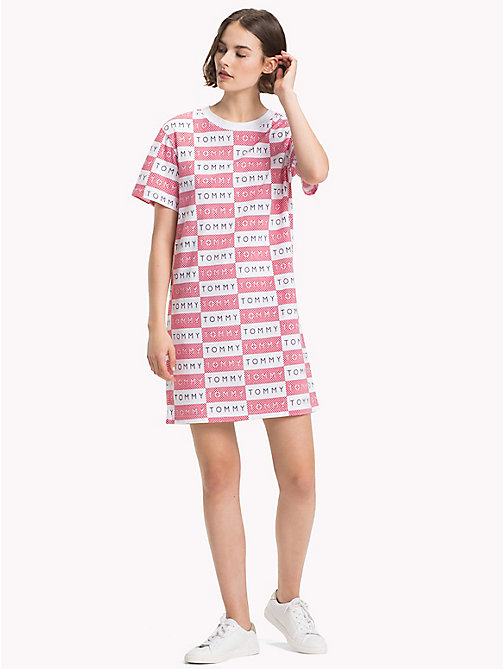 TOMMY HILFIGER Athleisure Logo T-Shirt Dress - HAUTE RED/CLASSIC WHITE AOP - TOMMY HILFIGER Mini - main image