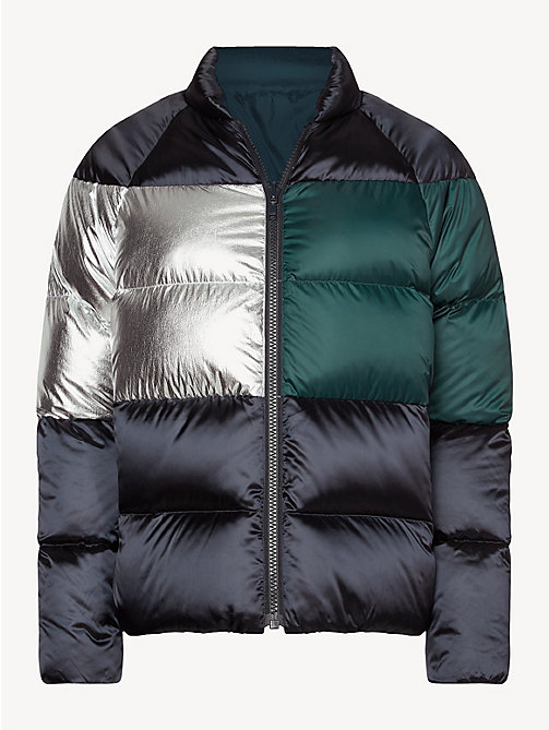 TOMMY HILFIGER Metallic Colour-Blocked Puffer Jacket - MIDNIGHT / PONDEROSA PINE/ SILVER - TOMMY HILFIGER Jackets - detail image 1