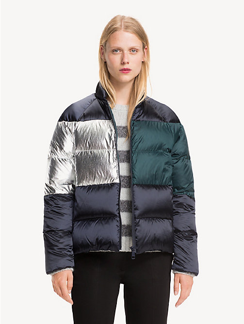 TOMMY HILFIGER Metallic colour-blocked puffer-jack - MIDNIGHT / PONDEROSA PINE/ SILVER - TOMMY HILFIGER Jassen & Jacks - main image