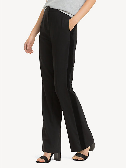 TOMMY HILFIGER Regular Fit Velvet Stripe Flared Trousers - BLACK BEAUTY - TOMMY HILFIGER Party Looks - main image