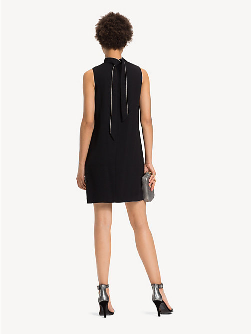 TOMMY HILFIGER Chain Detail Crepe Dress - BLACK BEAUTY - TOMMY HILFIGER Party Looks - detail image 1
