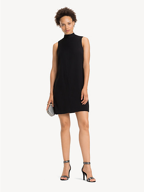 TOMMY HILFIGER Krepp-Kleid mit Kettendetail - BLACK BEAUTY - TOMMY HILFIGER Party-Looks - main image