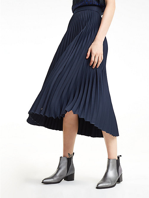 TOMMY HILFIGER Recycled Fabric Pleated Midi Skirt - MIDNIGHT - TOMMY HILFIGER Sustainable Evolution - detail image 1