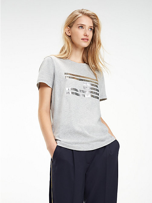 TOMMY HILFIGER Tommy Icons T-shirt met metallic logo - LIGHT GREY HTR - TOMMY HILFIGER Kleding - main image