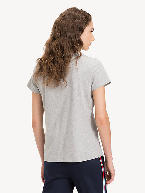 TOMMY HILFIGER Slim Fit Crew Neck T-Shirt - LIGHT GREY HTR - TOMMY HILFIGER Tops - detail image 1