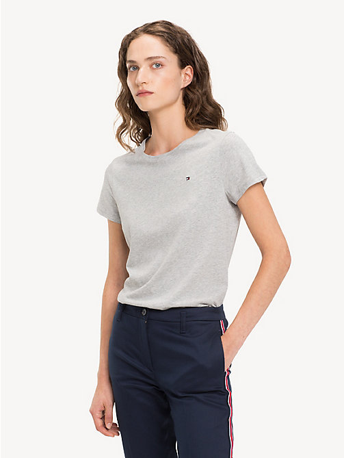 TOMMY HILFIGER Slim fit T-shirt met ronde hals - LIGHT GREY HTR - TOMMY HILFIGER T-Shirts - main image