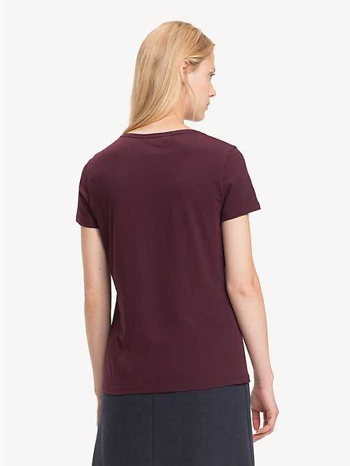TOMMY HILFIGER Slim Fit Crew Neck T-Shirt - PLUM - TOMMY HILFIGER NEW IN - detail image 1