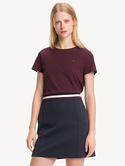 TOMMY HILFIGER Slim Fit Crew Neck T-Shirt - PLUM - TOMMY HILFIGER NEW IN - main image
