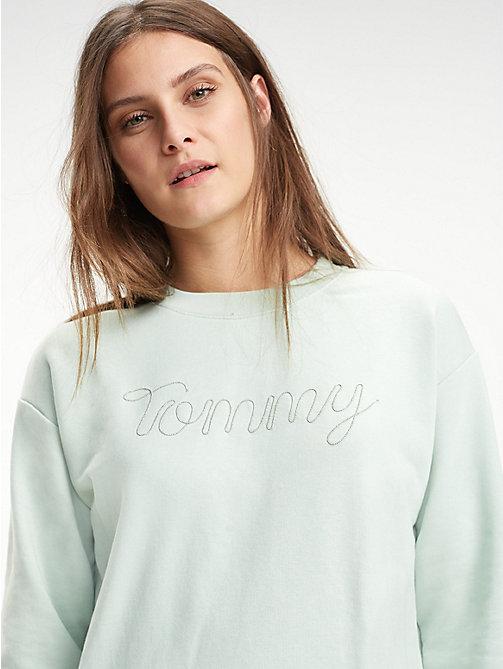 TOMMY HILFIGER Sweat col ras-du-cou en coton bouclé - AQUA FOAM ... b87e7fde00e