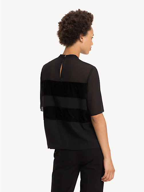 TOMMY HILFIGER Texture Stripe Keyhole Blouse - BLACK BEAUTY - TOMMY HILFIGER Party Looks - detail image 1