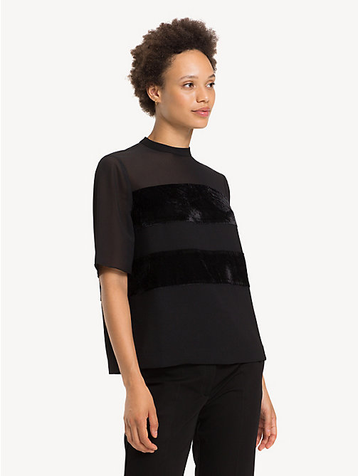 TOMMY HILFIGER Texture Stripe Keyhole Blouse - BLACK BEAUTY - TOMMY HILFIGER Party Looks - main image
