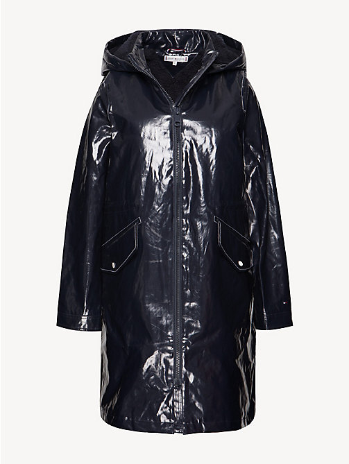 TOMMY HILFIGER Relaxed Fit Long Rubber Raincoat - MIDNIGHT - TOMMY HILFIGER Trench Coats - detail image 1