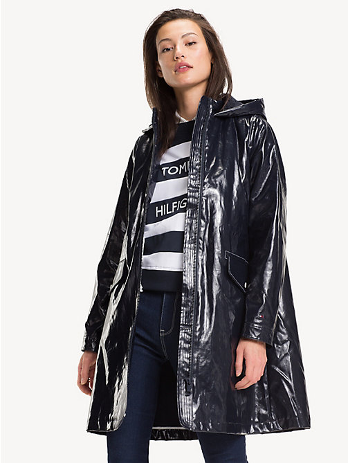 TOMMY HILFIGER Relaxed Fit Long Rubber Raincoat - MIDNIGHT - TOMMY HILFIGER Trench Coats - main image