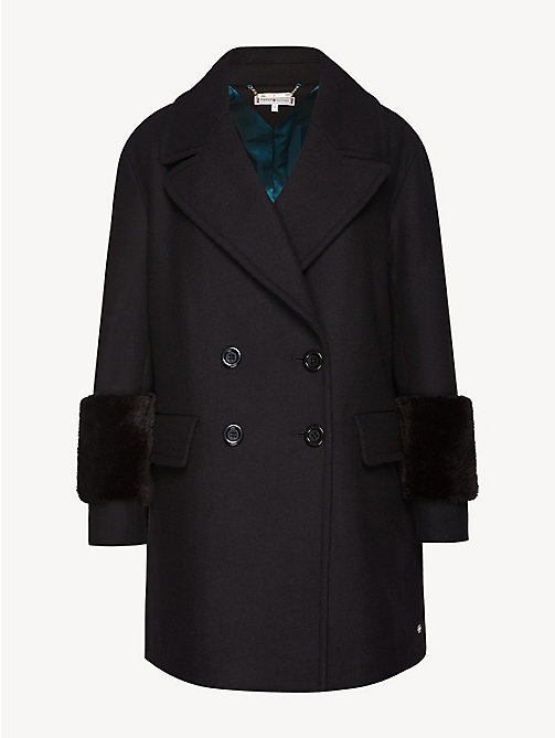 TOMMY HILFIGER Wool Blend Doubled Breasted Coat - BLACK BEAUTY - TOMMY HILFIGER Coats - detail image 1