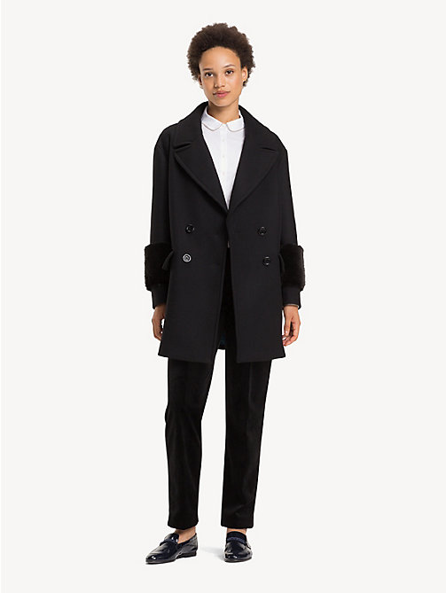 TOMMY HILFIGER Wool Blend Doubled Breasted Coat - BLACK BEAUTY - TOMMY HILFIGER Coats - main image