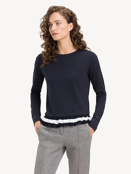 TOMMY HILFIGER Ruffle Hem Sweatshirt - MIDNIGHT - TOMMY HILFIGER NEW IN - main image