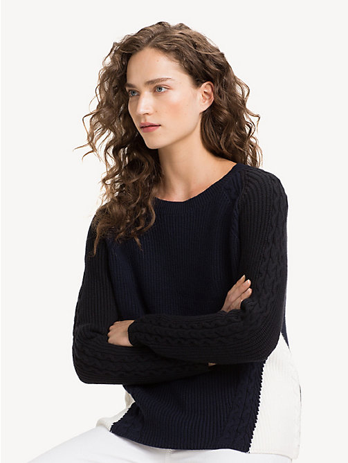 TOMMY HILFIGER Contrast Cable Knit Jumper - SKY CAPTAIN / BLACK BEAUTY MULTI - TOMMY HILFIGER NEW IN - main image