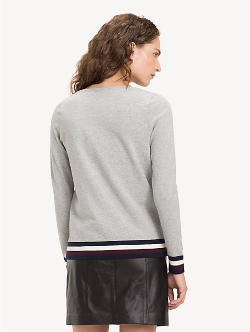 TOMMY HILFIGER Colour-blocked trui met boothals - LIGHT GREY HTR LIGHT GREY HTR - TOMMY HILFIGER NIEUW - detail image 1